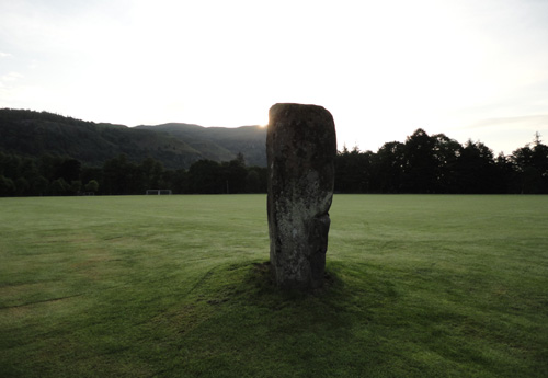 Summer solstice sunrise at the Airthrey castle standing stone