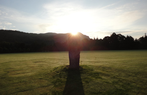 Summer solstice at the Airthrey castle standing stone