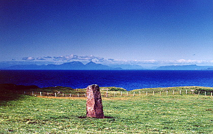 Cillchriosd standing stone and view to north