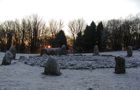 Loanhead of Daviot, recumbent stone circle, midwinter sunset. Copyright Ken Gordon